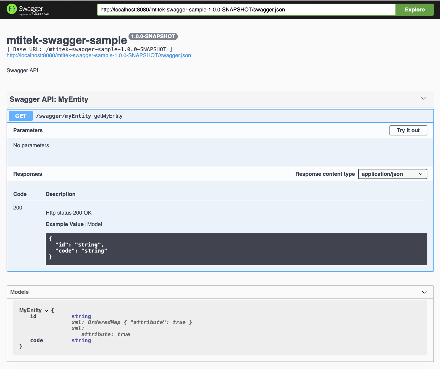 Swagger UI: Sample Application (Swagger, Jersey, Spring